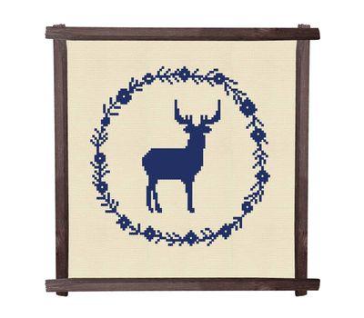 CHRISTMAS DEER cross stitch pattern square