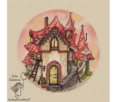kids Mushroom House cross stitch chart