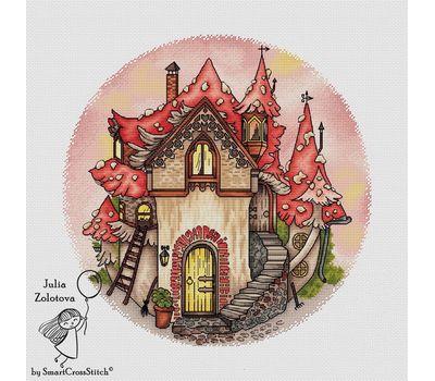 kids Mushroom House cross stitch pattern