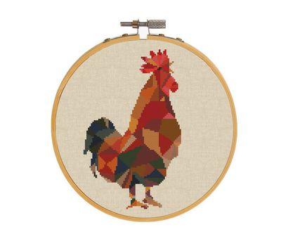 ROOSTER cross stitch pattern round