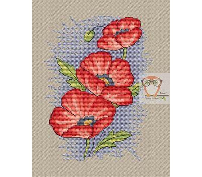 Red Poppy cross stitch flower