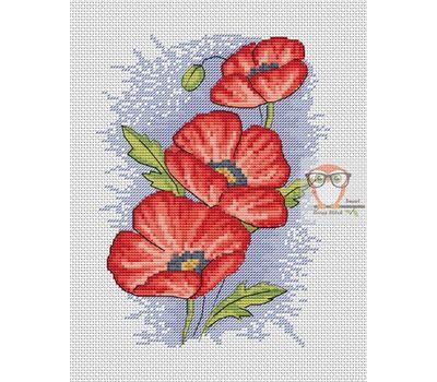 Poppy cross stitch pattern flower pattern