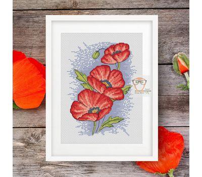 Poppy cross stitch flower pattern