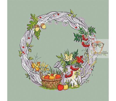 Round cross stitch pattern Autumn Wreath