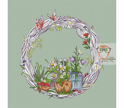 Round cross stitch pattern Summer Wreath