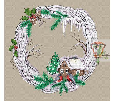 Round cross stitch pattern Winter Wreath