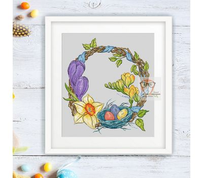 Easter Wreath Round flower cross stitch pattern