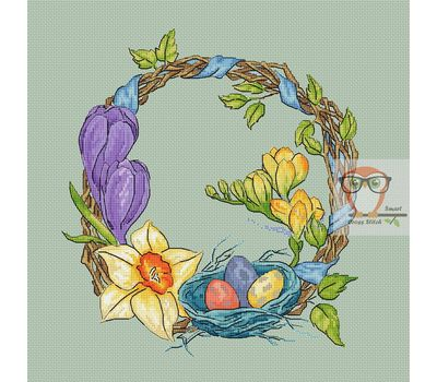 Round flower cross stitch pattern Easter Wreath