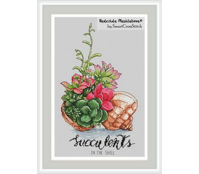 {en:Succulent cross stitch pattern Bright Plants;}