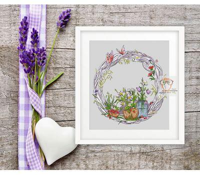 Summer Wreath round cross stitch pattern