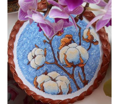 Round Cotton Plant cross stitch pattern stitched