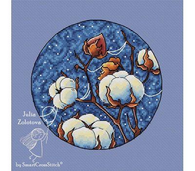 Round Cotton Plant cross stitch pattern