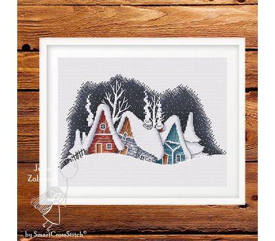 Winter Village Evening cross stitch pattern
