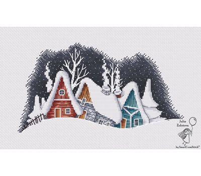 Winter Village Evening cross stitch chart