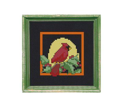Christmas Red Cardinal cross stitch pattern example free