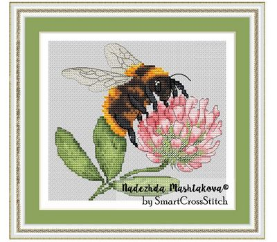 {en:Bumblebee & Clover Free cross stitch pattern;}
