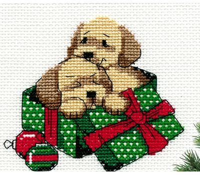 Free Cross Stitch Cute Dogs for New Year