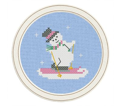 ''Snowman Skier'' Christmas Stocking cross stitch pattern