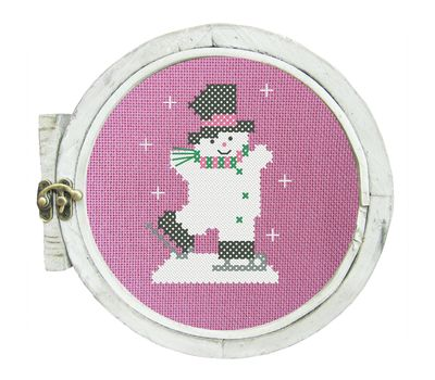 ''Snowman Skater'' Christmas Stocking cross stitch pattern