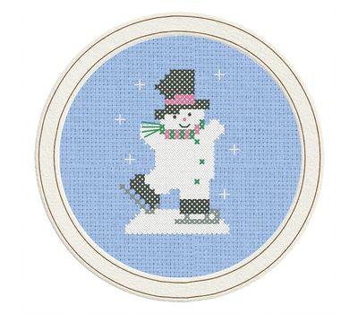 Skating Snowman cross stitch pattern blue canvas