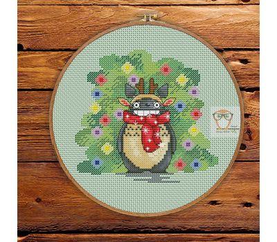 Free Totoro Cross Stitch pattern download Xmas chart
