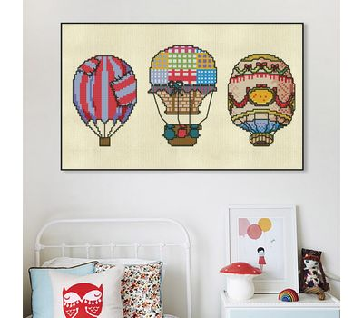 Air Balloons vintage cross stitch chart