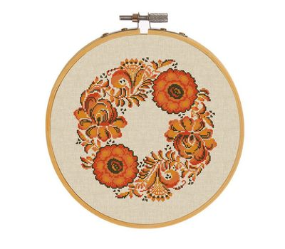 Autumn wreath floral cross stitch chart
