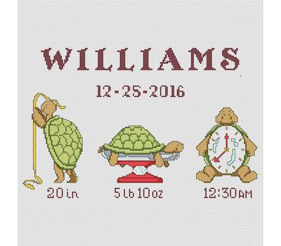 Baby cross stitch pattern Little Turtle birth sampler