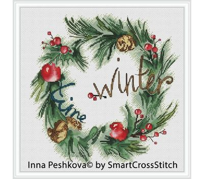Christmas Cross Stitch pattern Winter Wreath2