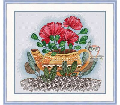 Flower cross stitch Chart Poppies in Red