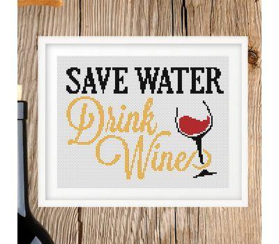 Funny Wine Saying cross stitch chart
