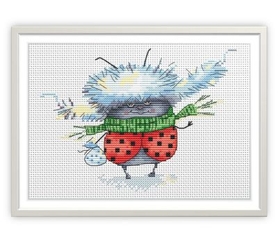 Funny cross Stitch Chart  Ladybug in Winter