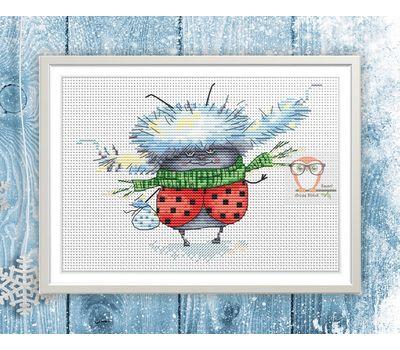 Funny cross Stitch pattern Xmas Ladybug in Winter