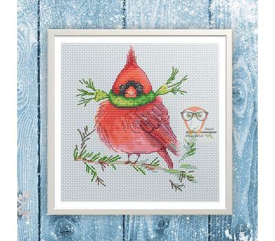 Xmas Bird cross Stitch pattern Red Cardinal