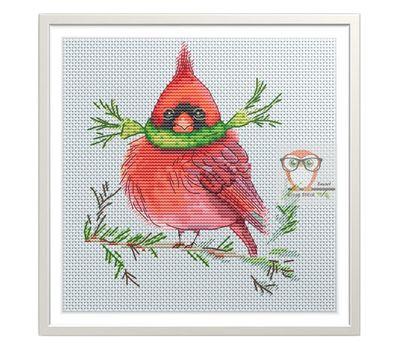 Funny cross Stitch pattern Red Cardinal Bird