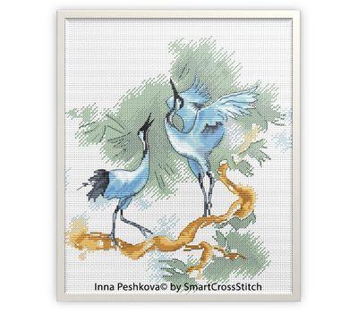 Japanese Cross Stitch chart Cranes Dance