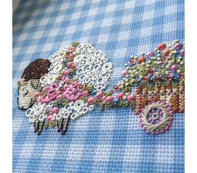 Lamb Cross Stitch pattern Floral Cart
