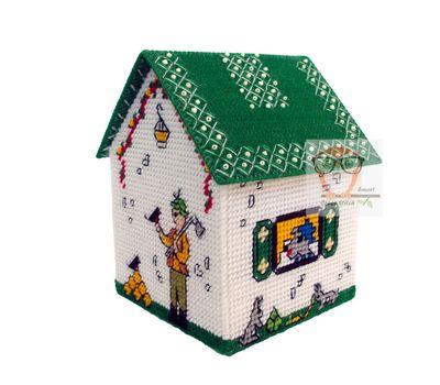 Plastic canvas house box Three Little Pigs}