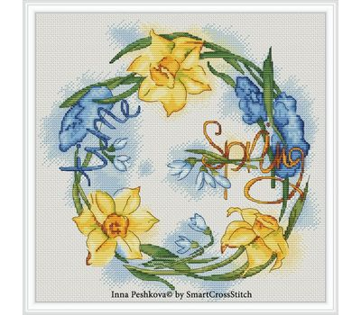 Spring Cross Stitch pattern Dancing Flowers
