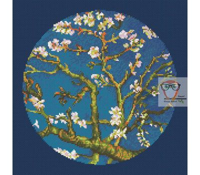 Van Gogh cross stitch chart Almond Blossom