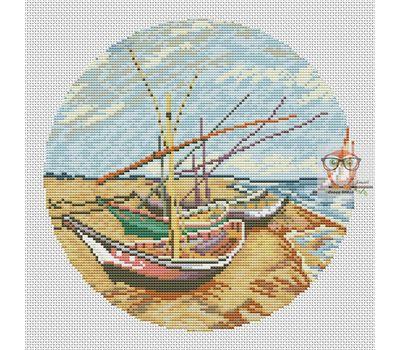 Van Gogh cross stitch chart Boats