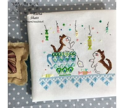 Funny Kittens Whitework Embroidery pattern