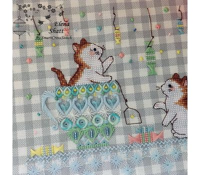 Whitework Embroidery chart Funny Kittens