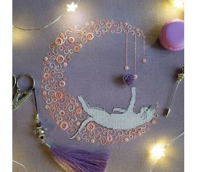 Whitework Embroidery pattern Moonlight Cat