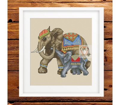 Animalistic Cross stitch pattern Elephants Family}