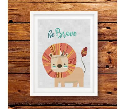 lion be brave cross stitch pattern