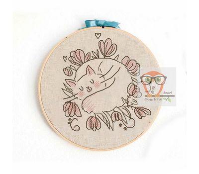 Baby Cross stitch pattern Marshmallow Sleeping Cat}