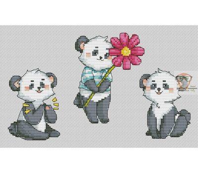 Bay Cross stitch pattern 3 Cute Pandas}