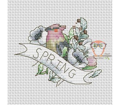 Bird Cross stitch pattern Spring}