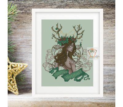 Boho Cross stitch pattern Fantasy Christmas pattern}